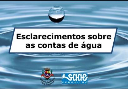 Esclarecimento sobre as contas de água