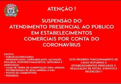 Suspensão das atividades em público